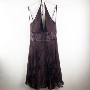 Laundry Shelli Segal brown pleated chiffon dress12